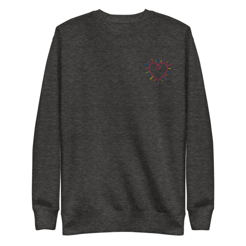 This premium sweat has a heart embroidered on the chest. It's perfect to show how big and colorful is your heart. Sweats - LGBTQ+ Gay Pride Apparel - unisex fleece pullover charcoal heather front 60b3b230897f6