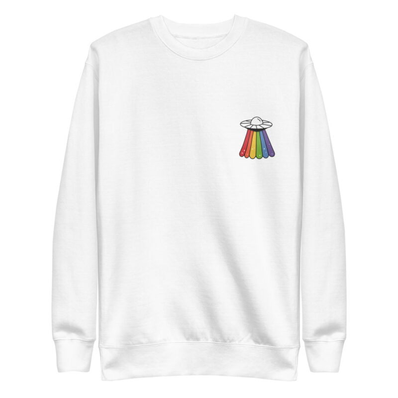 Sweatshirt with a rainbow UFO printed on the chest. This sweat has regular fit and premium fabric. Sweats - LGBTQ+ Gay Pride Apparel - unisex fleece pullover white front 6095b96581039