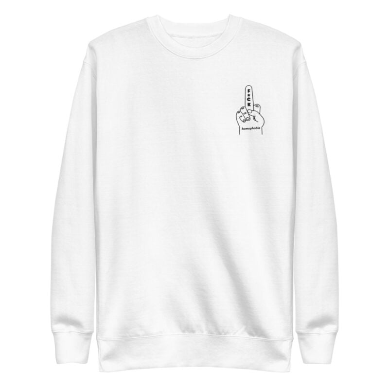 Regular fit sweat with an anti homophobia embroidery on the left chest. The color of the embroidery depends on the color of the sweatshirt. Sweats - LGBTQ+ Gay Pride Apparel - unisex fleece pullover white front 60a28653810f5