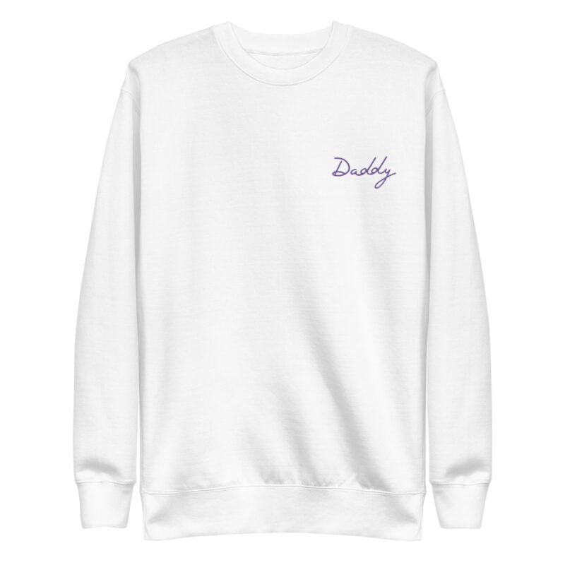 Regular fit sweat with embroidery on the chest. The word Daddy in handwritten in purple letters. Sweats - LGBTQ+ Gay Pride Apparel - unisex fleece pullover white front 60a38a01f13f2