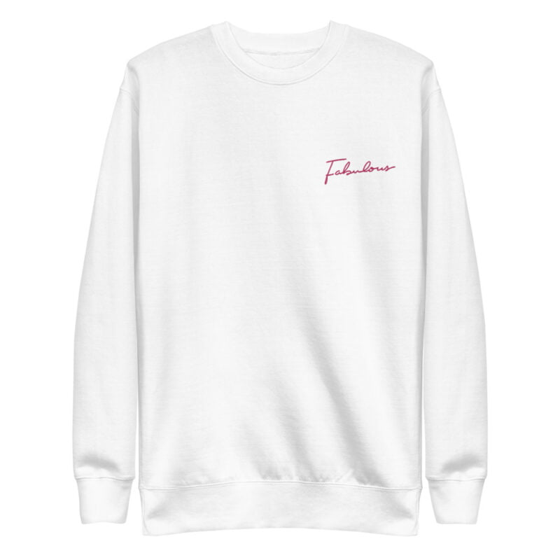 Regular fit sweat with an handwritten embroidery. This embroidery is the word Fabulous in pink color. Sweats - LGBTQ+ Gay Pride Apparel - unisex fleece pullover white front 60a38a46219fc