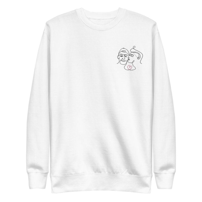 Regular Fit Sweat with an embroidery on the chest. It represents 2 boys kissing. A red heart connect the 2 lovers. Sweats - LGBTQ+ Gay Pride Apparel - unisex fleece pullover white front 60a3a1017febd