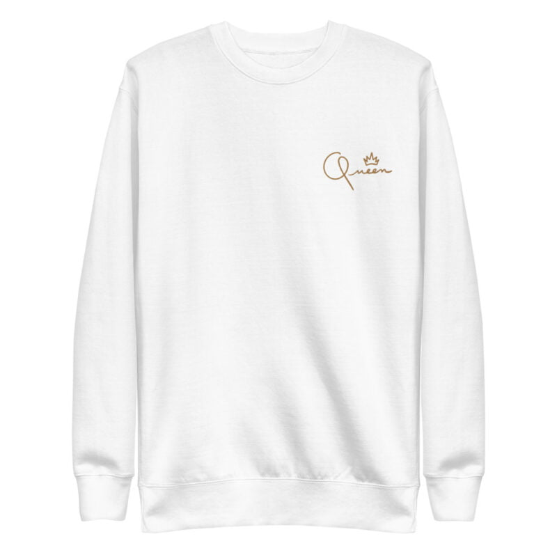 Regular fit sweat with the word Queen embroidered in the left chest. The embroidery is golden because true queens can only wear gold. Sweats - LGBTQ+ Gay Pride Apparel - unisex fleece pullover white front 60af767bebb11