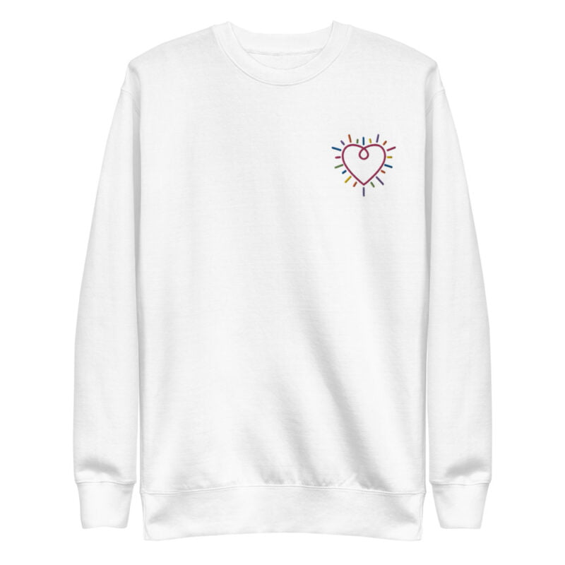 This premium sweat has a heart embroidered on the chest. It's perfect to show how big and colorful is your heart. Sweats - LGBTQ+ Gay Pride Apparel - unisex fleece pullover white front 60b3b23088f29