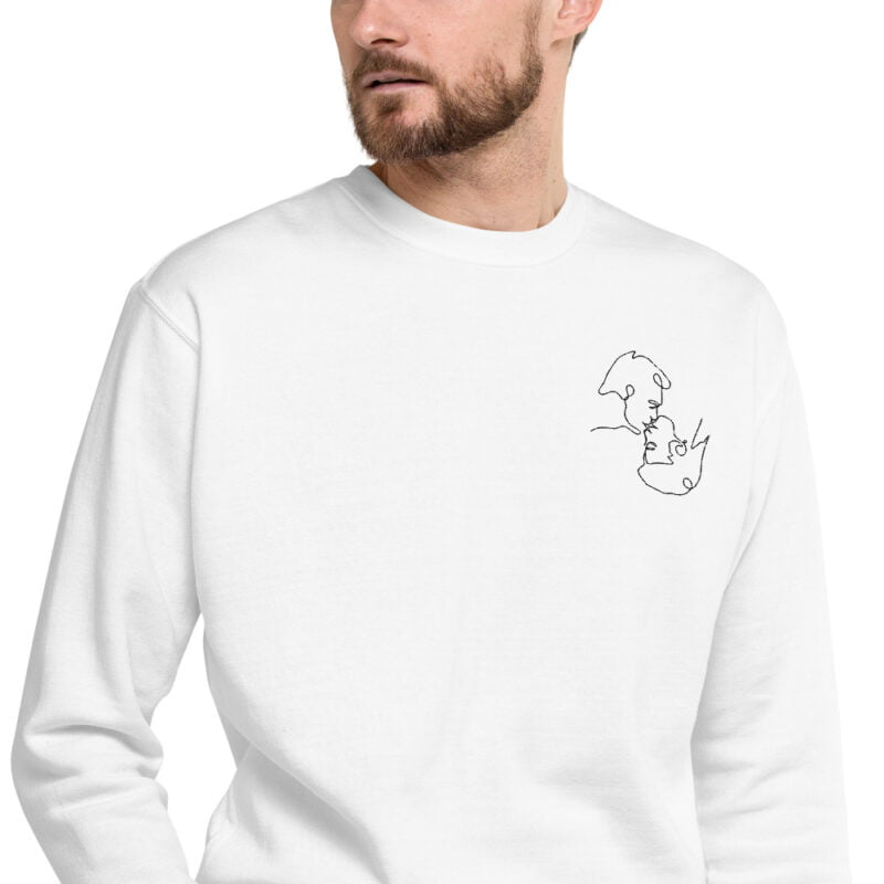 Regular fit sweat with an embroidery on the left chest. The embroidery shows 2 men doing a 69 kiss. The drawing is made from a single pencil line. Sweats - LGBTQ+ Gay Pride Apparel - unisex fleece pullover white zoomed in 60a3a1397d6e5