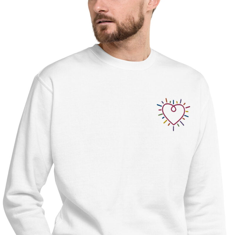 This premium sweat has a heart embroidered on the chest. It's perfect to show how big and colorful is your heart. Sweats - LGBTQ+ Gay Pride Apparel - unisex fleece pullover white zoomed in 60b3b230893da
