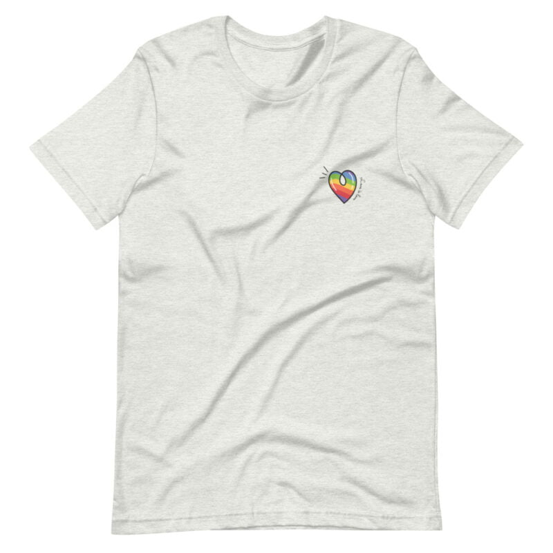 """T-shirt with a rainbow heart printed on the left chest. The sentence """"Love is love"""" is written next to the heart. T-shirts - LGBTQ+ Gay Pride Apparel - unisex premium t shirt ash front 60a3de870e3f6"""