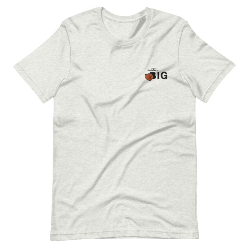 """T-shirt for the members of the big booty club. The embroidery represents a juicy peach and the text """"Mister BIG"""". T-shirts - LGBTQ+ Gay Pride Apparel - unisex premium t shirt ash front 60af55413255a"""