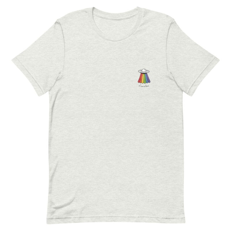 Love can come from anywhere and even from heaven. We believe that aliens are more open-minded than humans. T-shirts - LGBTQ+ Gay Pride Apparel - unisex premium t shirt ash front 60b3b1af8f274