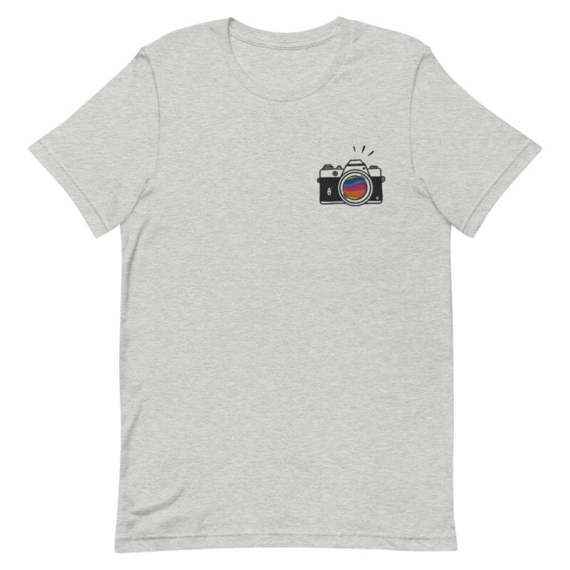 T-shirt with a vintage camera embroidered on the left chest. A rainbow is visible through the lens. T-shirts - LGBTQ+ Gay Pride Apparel - unisex premium t shirt athletic heather front 60978492c47eb