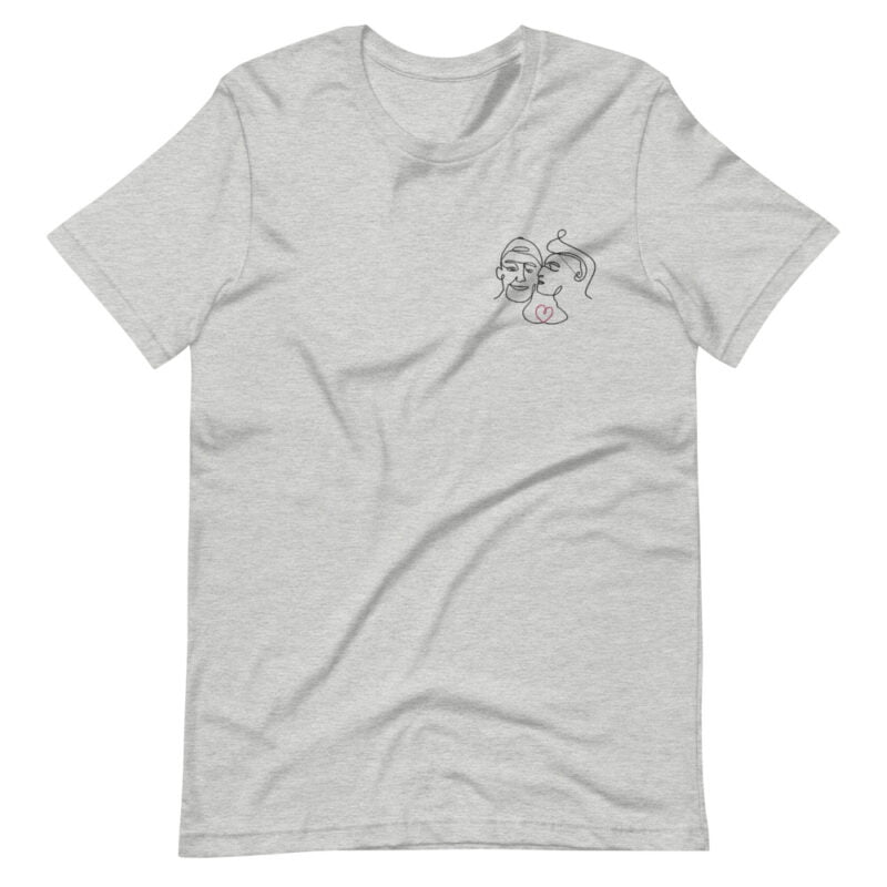 T-shirt with an embroidery showing 2 guys in love. The drawing is made from a single line. A colored heart connect the 2 lovers. T-shirts - LGBTQ+ Gay Pride Apparel - unisex premium t shirt athletic heather front 60a3a99f37840