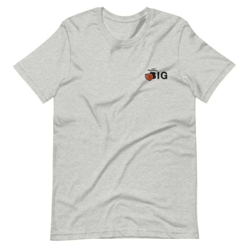"""T-shirt for the members of the big booty club. The embroidery represents a juicy peach and the text """"Mister BIG"""". T-shirts - LGBTQ+ Gay Pride Apparel - unisex premium t shirt athletic heather front 60af554131e6e"""