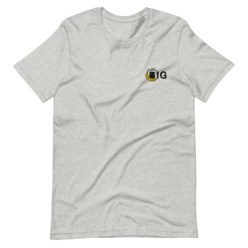 """T-shirt with a sexy embroidery on the left chest. The design represents a banana with the text """"Mister BIG"""". T-shirts - LGBTQ+ Gay Pride Apparel - unisex premium t shirt athletic heather front 60af559d43e9f"""