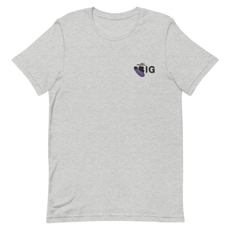"""T-shirt with a sexy message embroidered. It represents an eggplant emoji and the text """"Mister BIG"""". T-shirts - LGBTQ+ Gay Pride Apparel - unisex premium t shirt athletic heather front 60af56402e121"""