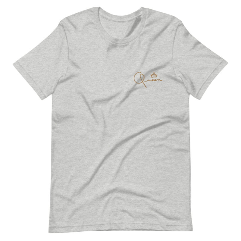 T-shirt made for the queens. The embroidery represents the word Queen in gold letters. T-shirts - LGBTQ+ Gay Pride Apparel - unisex premium t shirt athletic heather front 60af75d82c08f