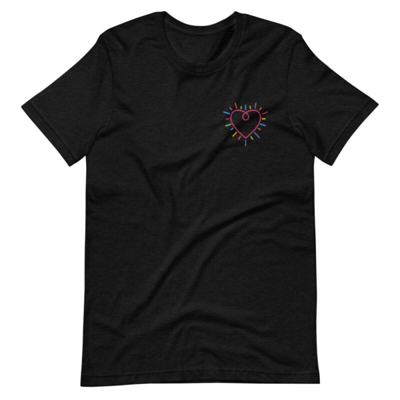 T-shirt with a big heart embroidered in the chest. The heart is red and multicolored lines are all around the heart. T-shirts - LGBTQ+ Gay Pride Apparel - unisex premium t shirt black heather front 609783b235f2e