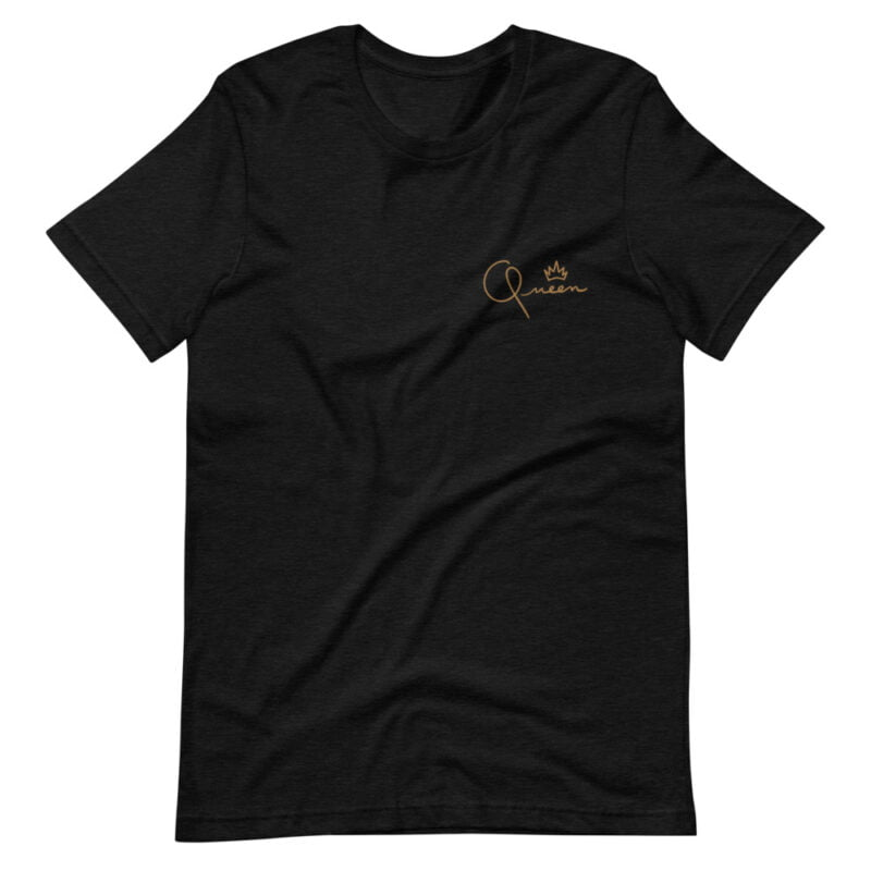 T-shirt made for the queens. The embroidery represents the word Queen in gold letters. T-shirts - LGBTQ+ Gay Pride Apparel - unisex premium t shirt black heather front 60af75d82a8ae