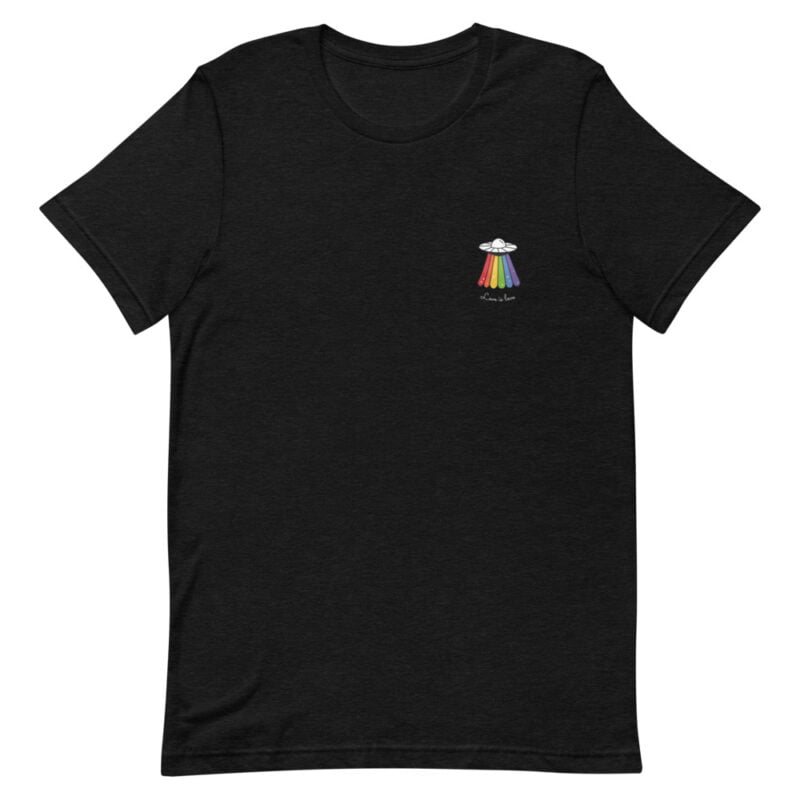 Love can come from anywhere and even from heaven. We believe that aliens are more open-minded than humans. T-shirts - LGBTQ+ Gay Pride Apparel - unisex premium t shirt black heather front 60b4d44d35081