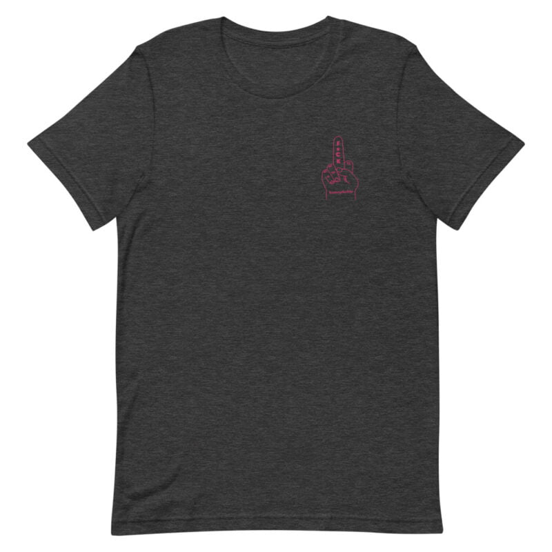 T-shirt with a pink embroidery on the left chest. This t-shirt shows an anti homophobia message. T-shirts - LGBTQ+ Gay Pride Apparel - unisex premium t shirt dark grey heather front 60a283196e156