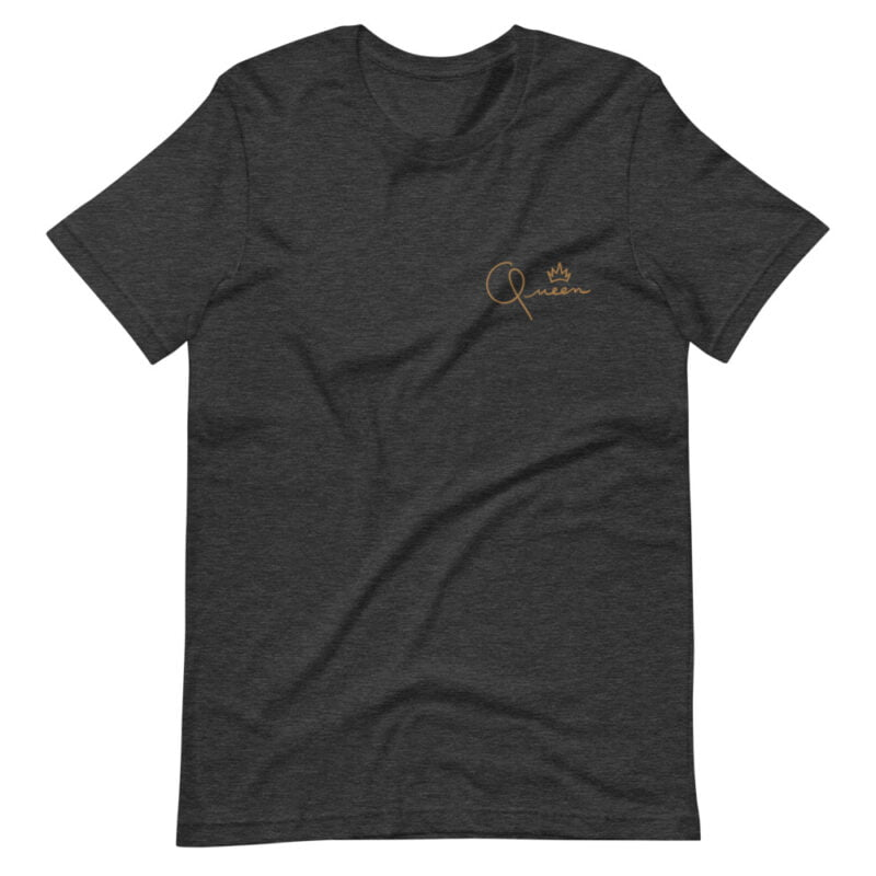 T-shirt made for the queens. The embroidery represents the word Queen in gold letters. T-shirts - LGBTQ+ Gay Pride Apparel - unisex premium t shirt dark grey heather front 60af75d82af5a
