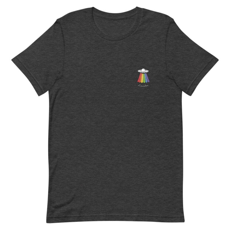 Love can come from anywhere and even from heaven. We believe that aliens are more open-minded than humans. T-shirts - LGBTQ+ Gay Pride Apparel - unisex premium t shirt dark grey heather front 60b4d44d3629c