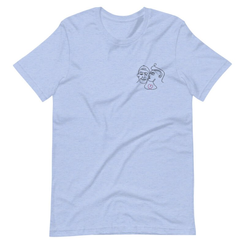 T-shirt with an embroidery showing 2 guys in love. The drawing is made from a single line. A colored heart connect the 2 lovers. T-shirts - LGBTQ+ Gay Pride Apparel - unisex premium t shirt heather blue front 60a3a99f34e47