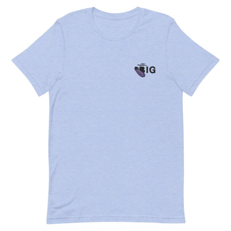 """T-shirt with a sexy message embroidered. It represents an eggplant emoji and the text """"Mister BIG"""". T-shirts - LGBTQ+ Gay Pride Apparel - unisex premium t shirt heather blue front 60af56402ddf2"""