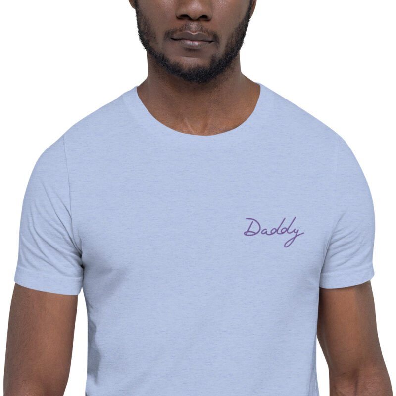 T-shirt with purple embroidery. The word Daddy is handwritten in purple letters. T-shirts - LGBTQ+ Gay Pride Apparel - unisex premium t shirt heather blue zoomed in 60a3891d6ee9f