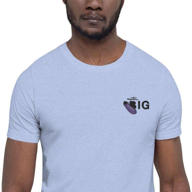 """T-shirt with a sexy message embroidered. It represents an eggplant emoji and the text """"Mister BIG"""". T-shirts - LGBTQ+ Gay Pride Apparel - unisex premium t shirt heather blue zoomed in 60af56402dae5"""