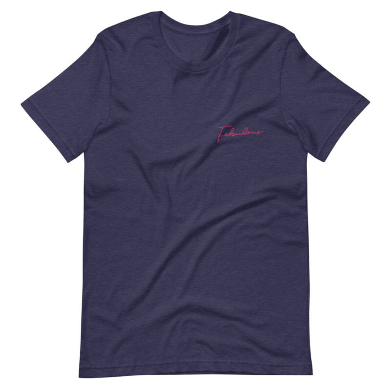 T-shirt with a pink embroidery on the chest. The embroidery is the word Fabulous handwritten. T-shirts - LGBTQ+ Gay Pride Apparel - unisex premium t shirt heather midnight navy front 609b88845c4bf