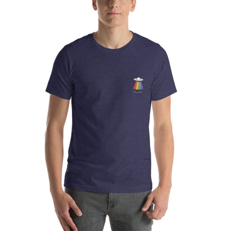 Love can come from anywhere and even from heaven. We believe that aliens are more open-minded than humans. T-shirts - LGBTQ+ Gay Pride Apparel - unisex premium t shirt heather midnight navy front 60b4d44d354d0