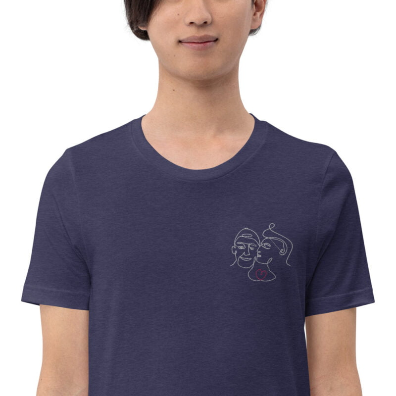 T-shirt with an embroidery showing 2 guys in love. The drawing is made from a single line. A colored heart connect the 2 lovers. T-shirts - LGBTQ+ Gay Pride Apparel - unisex premium t shirt heather midnight navy zoomed in 60a3ab6aae0c7