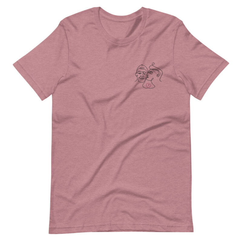 T-shirt with an embroidery showing 2 guys in love. The drawing is made from a single line. A colored heart connect the 2 lovers. T-shirts - LGBTQ+ Gay Pride Apparel - unisex premium t shirt heather orchid front 60a3a99f33936