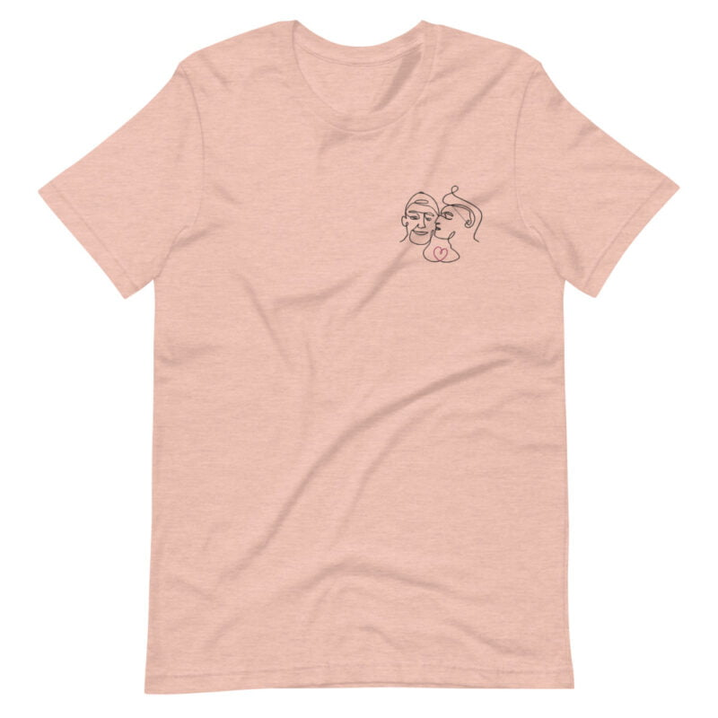 T-shirt with an embroidery showing 2 guys in love. The drawing is made from a single line. A colored heart connect the 2 lovers. T-shirts - LGBTQ+ Gay Pride Apparel - unisex premium t shirt heather prism peach front 60a3a99f35e2d