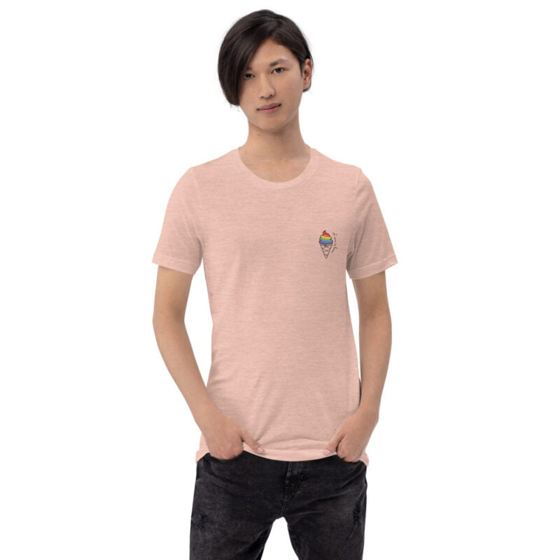"""T-shirt with a drawing of a rainbow ice cream printed on the chest. The sentence """"Love is love"""" is written just next to the ice cream. T-shirts - LGBTQ+ Gay Pride Apparel - unisex premium t shirt heather prism peach front 60a3dda29c64d"""