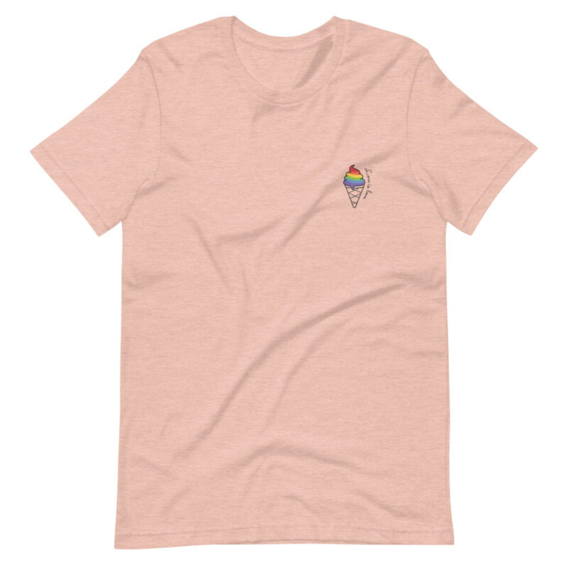 """T-shirt with a drawing of a rainbow ice cream printed on the chest. The sentence """"Love is love"""" is written just next to the ice cream. T-shirts - LGBTQ+ Gay Pride Apparel - unisex premium t shirt heather prism peach front 60a3dda29c86f"""