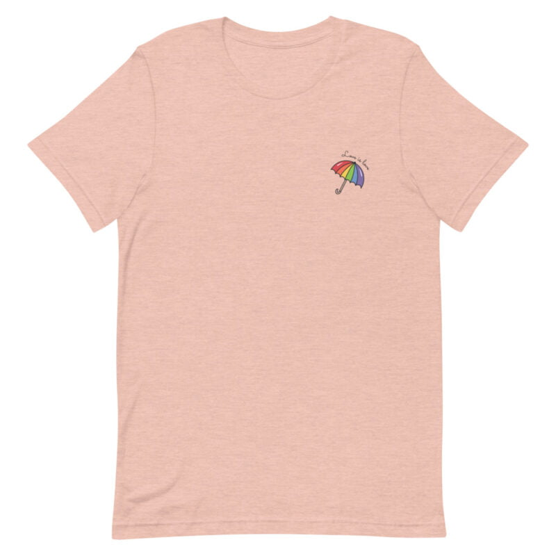 """T-shirt with a rainbow umbrella printed on the left chest. The sentence """"Love is love"""" is printed on the top of the umbrella. T-shirts - LGBTQ+ Gay Pride Apparel - unisex premium t shirt heather prism peach front 60a3de0db5e43"""