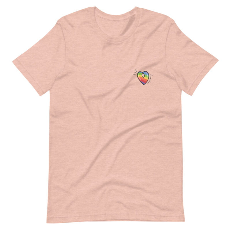 """T-shirt with a rainbow heart printed on the left chest. The sentence """"Love is love"""" is written next to the heart. T-shirts - LGBTQ+ Gay Pride Apparel - unisex premium t shirt heather prism peach front 60a3de870d1fc"""