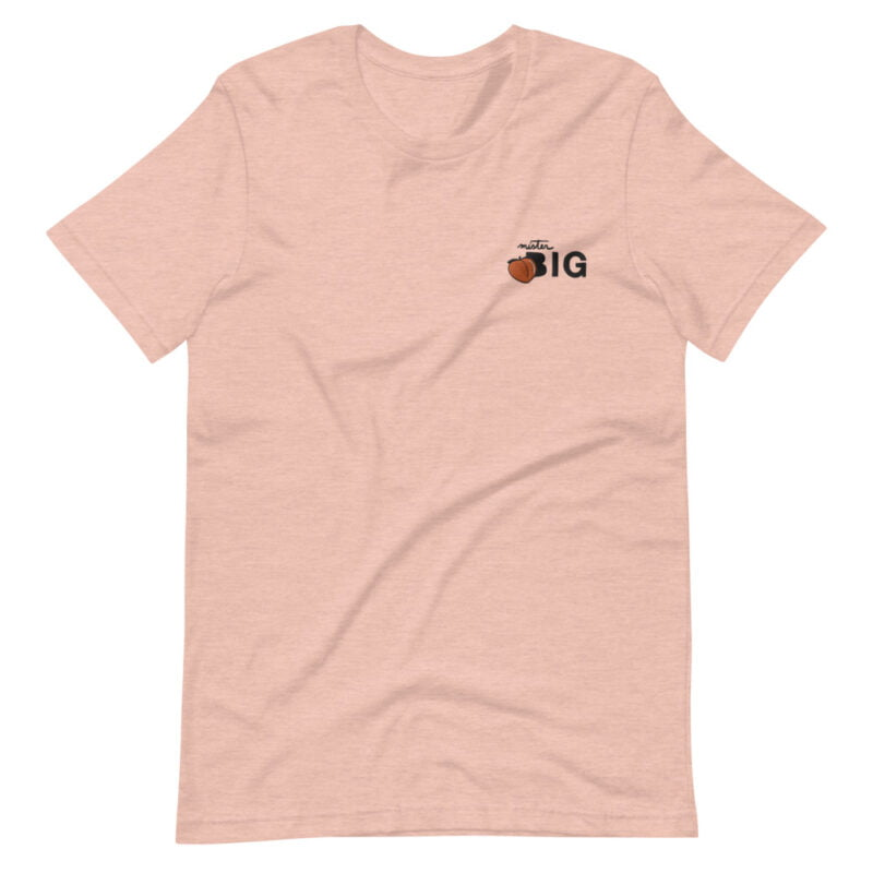 """T-shirt for the members of the big booty club. The embroidery represents a juicy peach and the text """"Mister BIG"""". T-shirts - LGBTQ+ Gay Pride Apparel - unisex premium t shirt heather prism peach front 60af554131b5b"""