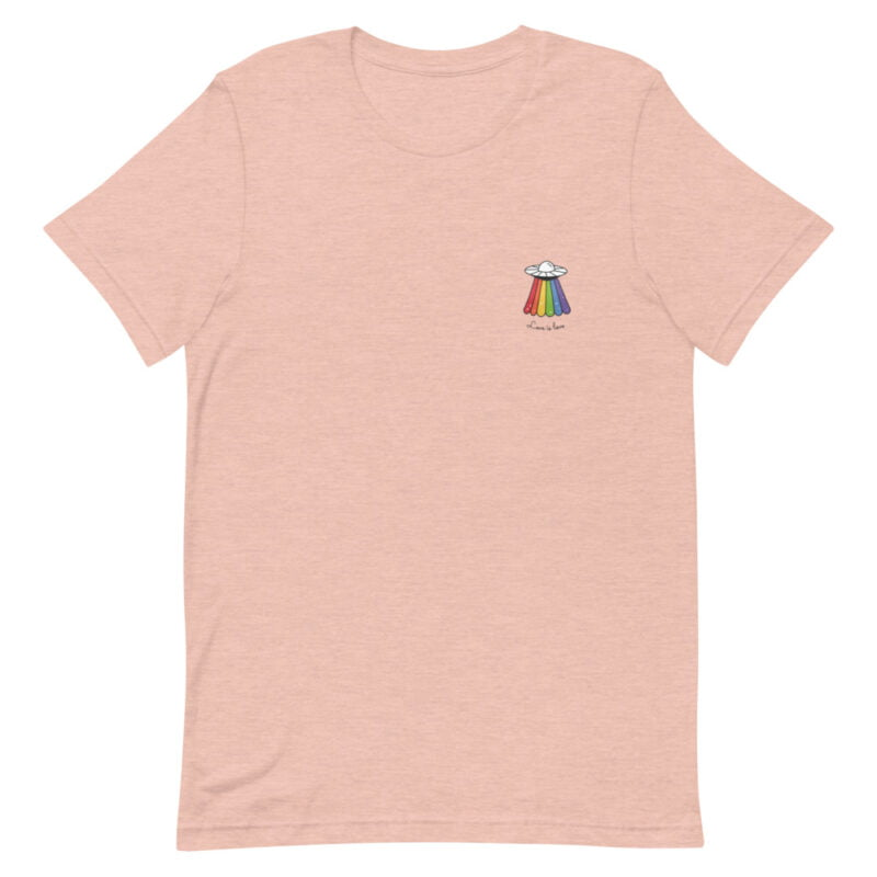 Love can come from anywhere and even from heaven. We believe that aliens are more open-minded than humans. T-shirts - LGBTQ+ Gay Pride Apparel - unisex premium t shirt heather prism peach front 60b3b1af8dbdd