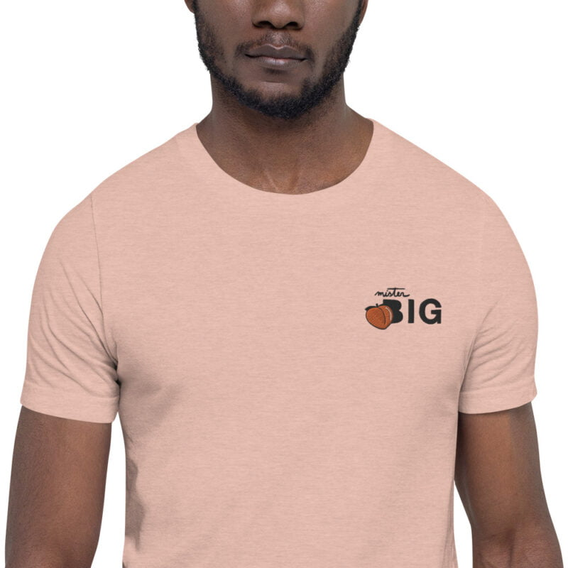 """T-shirt for the members of the big booty club. The embroidery represents a juicy peach and the text """"Mister BIG"""". T-shirts - LGBTQ+ Gay Pride Apparel - unisex premium t shirt heather prism peach zoomed in 60af554131855"""