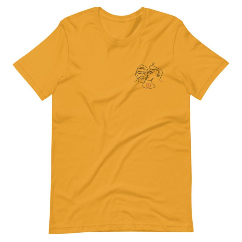 T-shirt with an embroidery showing 2 guys in love. The drawing is made from a single line. A colored heart connect the 2 lovers. T-shirts - LGBTQ+ Gay Pride Apparel - unisex premium t shirt mustard front 60a3a99f35516