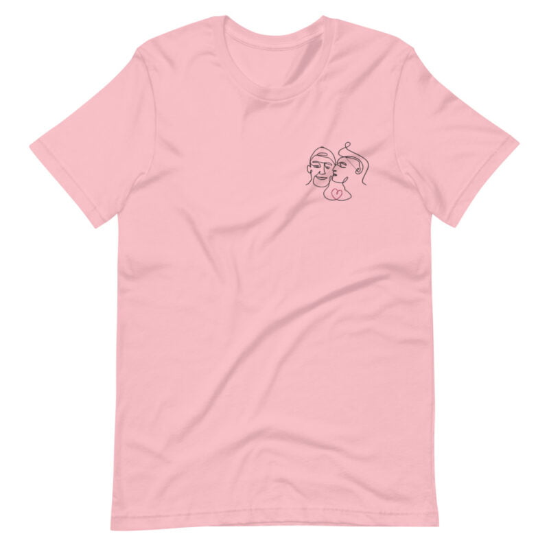 T-shirt with an embroidery showing 2 guys in love. The drawing is made from a single line. A colored heart connect the 2 lovers. T-shirts - LGBTQ+ Gay Pride Apparel - unisex premium t shirt pink front 60a3a99f3682f