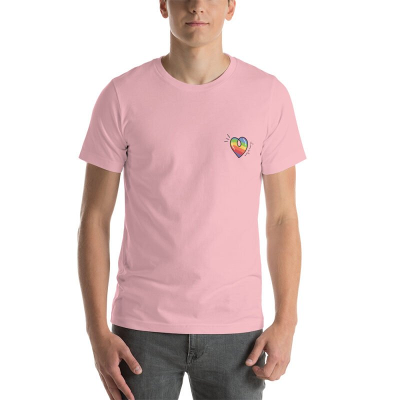 """T-shirt with a rainbow heart printed on the left chest. The sentence """"Love is love"""" is written next to the heart. T-shirts - LGBTQ+ Gay Pride Apparel - unisex premium t shirt pink front 60a3de870cccc"""