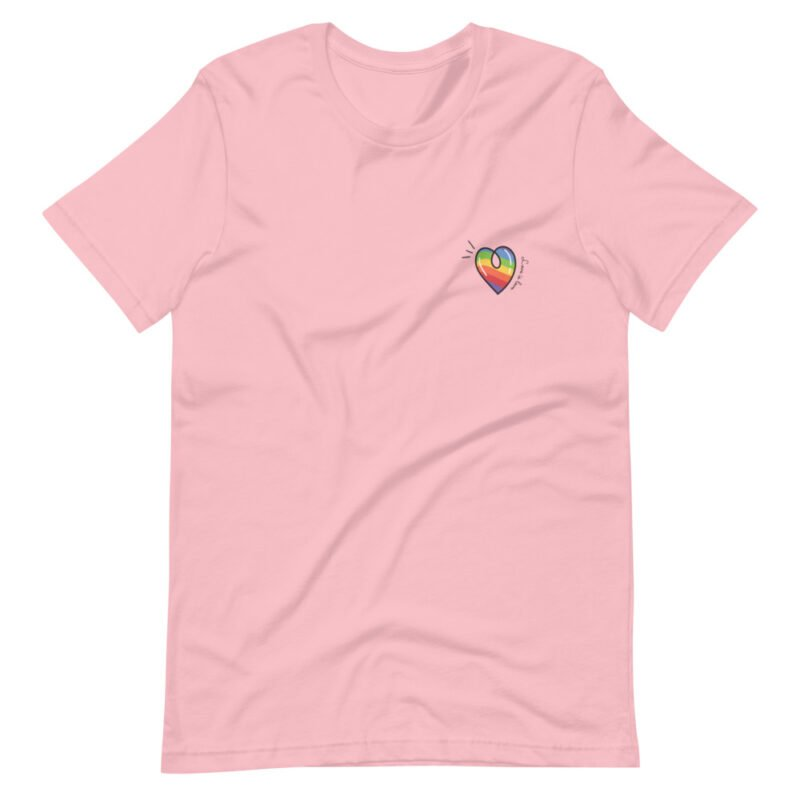 """T-shirt with a rainbow heart printed on the left chest. The sentence """"Love is love"""" is written next to the heart. T-shirts - LGBTQ+ Gay Pride Apparel - unisex premium t shirt pink front 60a3de870d4e6"""