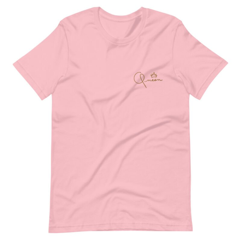 T-shirt made for the queens. The embroidery represents the word Queen in gold letters. T-shirts - LGBTQ+ Gay Pride Apparel - unisex premium t shirt pink front 60af75d82b5ac