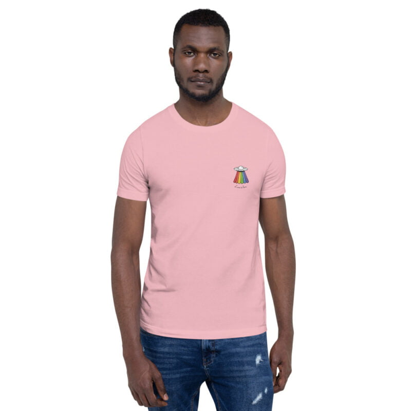 Love can come from anywhere and even from heaven. We believe that aliens are more open-minded than humans. T-shirts - LGBTQ+ Gay Pride Apparel - unisex premium t shirt pink front 60b3b1af8bcf9