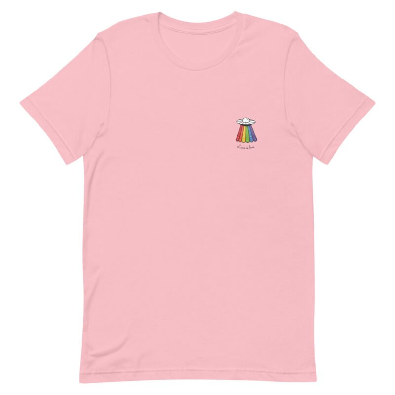 Love can come from anywhere and even from heaven. We believe that aliens are more open-minded than humans. T-shirts - LGBTQ+ Gay Pride Apparel - unisex premium t shirt pink front 60b3b1af8e601