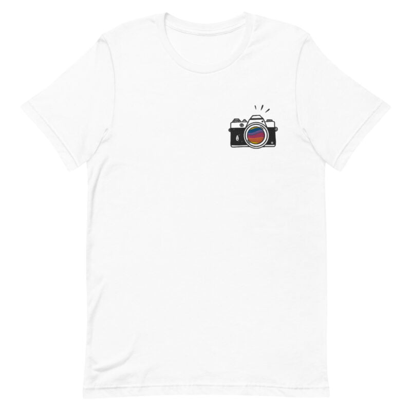 T-shirt with a vintage camera embroidered on the left chest. A rainbow is visible through the lens. T-shirts - LGBTQ+ Gay Pride Apparel - unisex premium t shirt white front 60978492c41d0