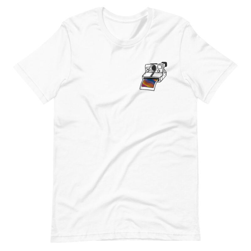 T-shirt with an embroidery on the left chest. This embroidery represents a vintage camera. A rainbow photo comes out of the Polaroid. T-shirts - LGBTQ+ Gay Pride Apparel - unisex premium t shirt white front 6097851b6cfea